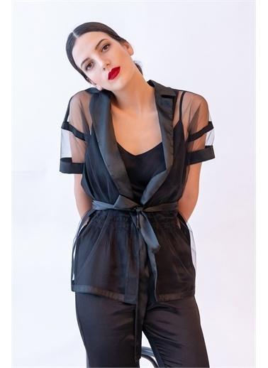 Hays Kadın Tül Detaylı Ceket Sabahlık Siyah